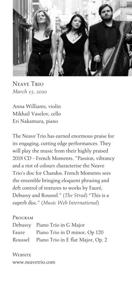 Neave Trio, concerts at the point