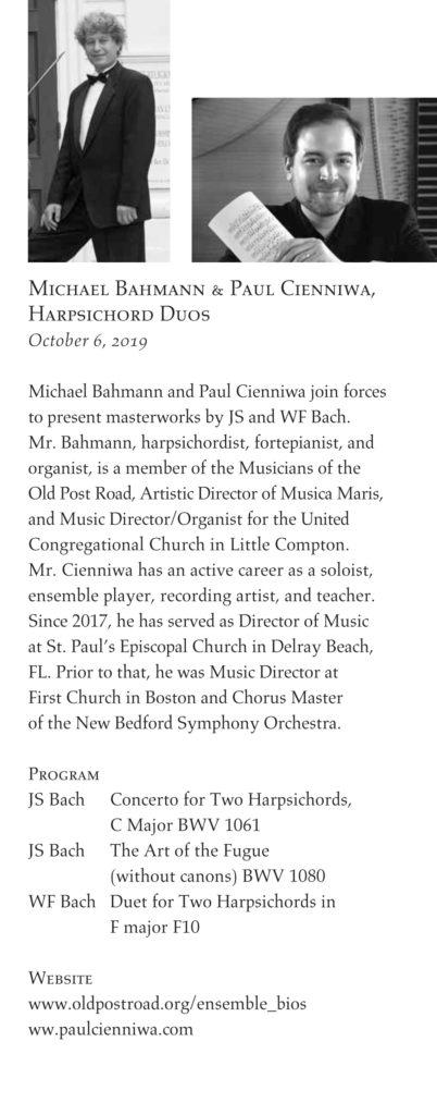 Michael Bahmann & Paul Cienniwa, harpsichord duo, Concert at the point, westport, ma